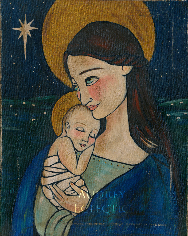 FOLK Madonna and Child in Blue
