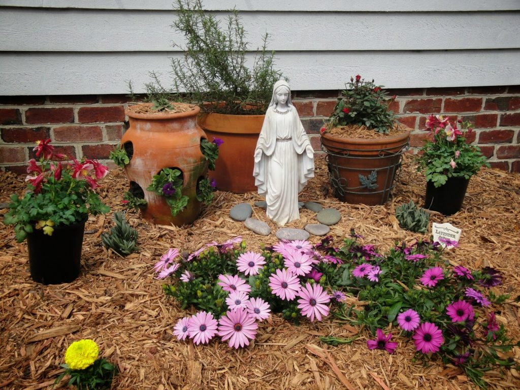 Place Any Size Statue Of The Blessed Virgin Mary Outside Anywhere Youu0027d  Like To Group A Bunch Of Plants Around And In Honor Of Her.