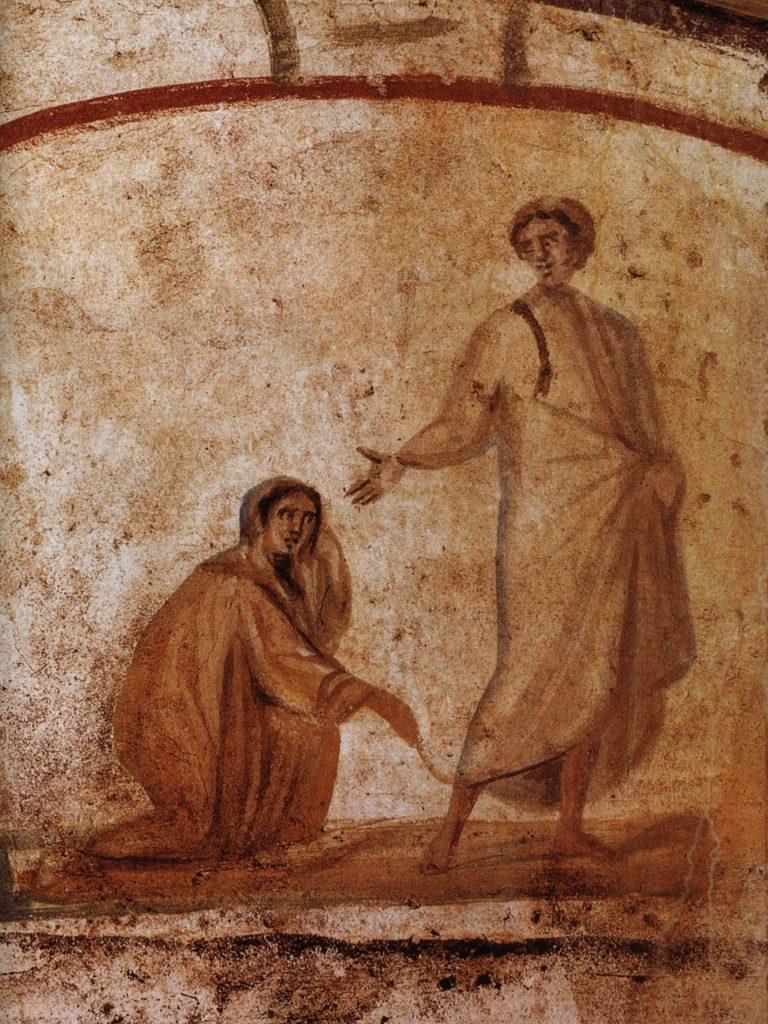 1024px-Healing_of_a_bleeding_women_Marcellinus-Peter-Catacomb
