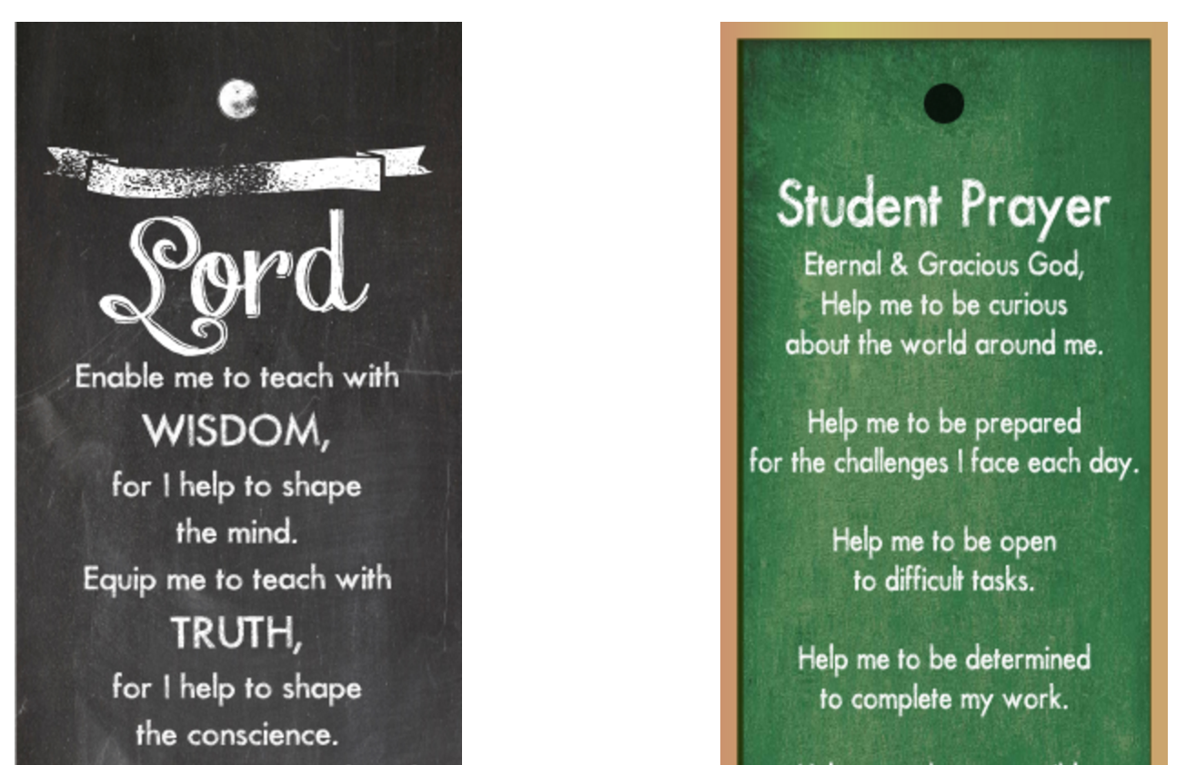 Printable Back to School Prayer Bookmarks