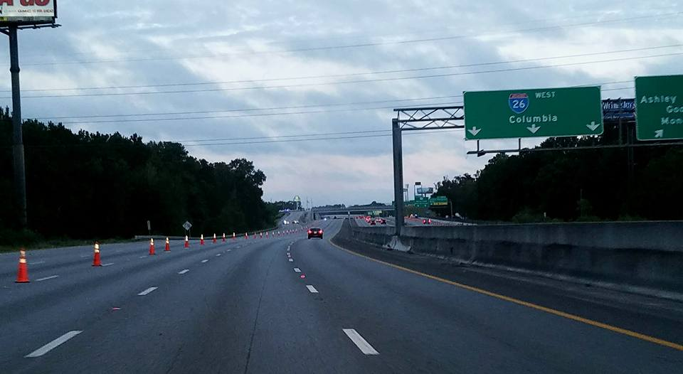 Getting on the interstate to evacuate using reversed lanes.